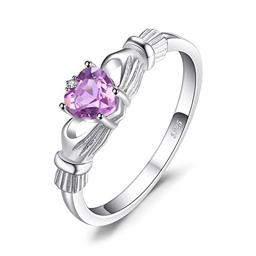 Celtic Heart Claddagh Ring Amethyst (JewelryPalace Heart 0.5ct Irish Celtic Claddagh Natural Amethyst Birthstone Promise Ring 925 Sterling Silver Size 6)