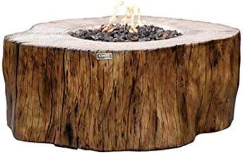 Elementi Manchester Propane Fire Tables, 42 x 39 x 17 inches Cast Concrete Fire Pits Outdoor Fireplaces into Redwood Stump Shape – 304 Stainless Steel Burner – Canvas Cover and Lava Rock Included