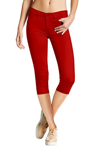 Women's Hyper Stretch Denim Capri Jeans Q44876 RED Large