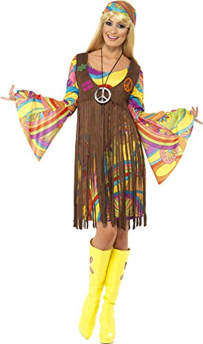 Lady Halloween Costumes (Smiffy's Women's 1960's Groovy Lady Costume, Dress, Printed Waistcoat and Headband, 60's Groovy Baby, Serious Fun, Size 14-16, 35531)