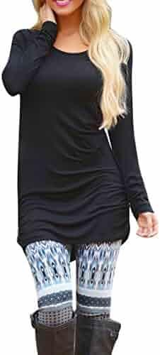 Pink QueenWomen's Basic Long Sleeve Slim Fit T Shirt Dress Tunic Top