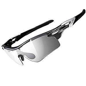 RockBros Polarized Cycling Sunglasses - Photochromic Tint Fishing/Camping Glasses Goggles Eyewear - Outdoor Sports Sunglasses - Black Silver