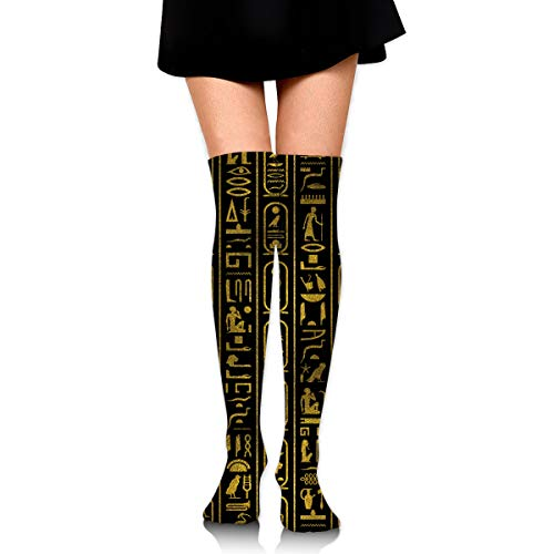 Egyptian Ancient Gold Hieroglyphs On Black Female Ladies Women Girl Teen Kid Youth Leg Tall Mid Thigh High Knee Long Tube Over The Knee Stocking Costume Gifts Clothes Dresses Apparel Thy Thi Hi Attire ()