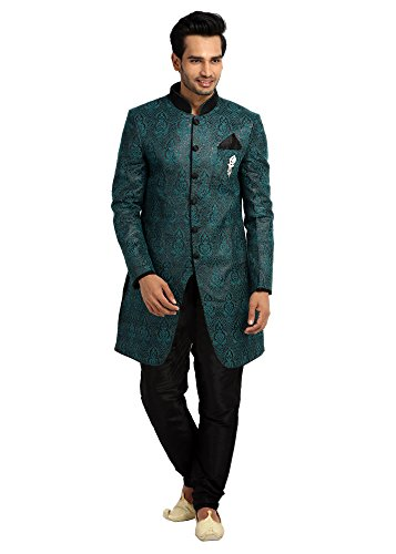 Saris and Things Cerulean Blue Indowestern Sherwani for Men by Saris and Things
