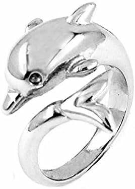 指輪 リング サージカル ステンレス 316L シルバー ドルフィンステンレスリング(LRC253)サイズ/19号 フリーサイズ サーファー 男性用 女性用 親指 薬指 小指 関節 アクセサリー