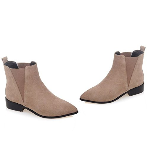 COOLCEPT Women Casual Low Heel Pull On Chelsea Ankle Boots apricot oBx0M