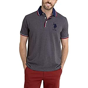 U.S. Polo Assn. Mens Solid Heather Polo Shirt with Big Pony