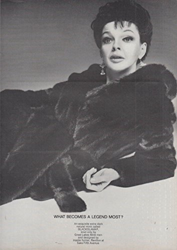 Judy Garland   What Becomes A Legend Mosy  Blackglama Mink Ad 1968 Ny
