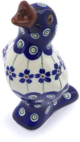 Polish Pottery 5½-inch Pie Bird (Flowering Peacock Theme) + Certificate of - Vintage Pottery