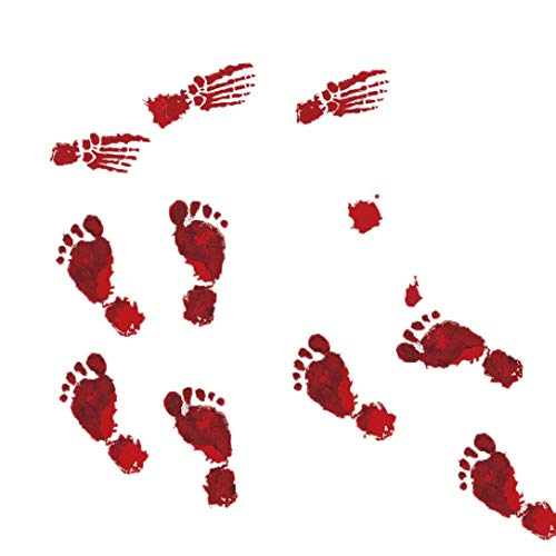 Forthery Halloween Bloody Footprints Floor Clings Vampire Zombie Party Decals Stickers (4PCS, C)