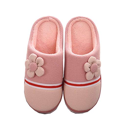 on Shoes Unisex Slip Anti 21 Foam Skid House Cotton Slippers Winter Memory Knit Pink qrpqR6z