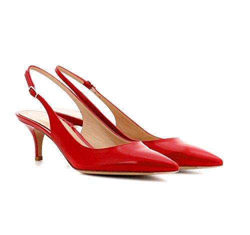 Edefs Damer Killing-hæl Slingback Pumps Blonder 6.5cm Medium Hæl Spidse Tå Sko Rød LG1eH