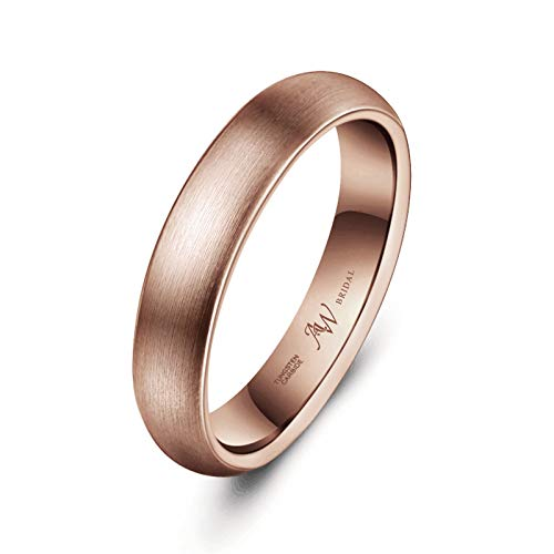 AW Tungsten Wedding Band Rose Gold Ring 4mm for Men Women - Comfort Fit Brushed Engagement Band, Size 8.5