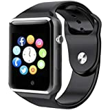 Smart Watch - WJPILIS Bluetooth Touch Screen Smartwatch Smart Wrist Watch Phone Fitness Tracker SIM TF Card Slot Camera Pedometer iOS iPhone Android Samsung LG Women Kids Men (Black)