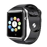 Smart Watch - WJPILIS Bluetooth Touch Screen Smartwatch Smart Wrist Watch Phone Fitness Tracker SIM TF Card Slot Camera Pedometer iOS iPhone Android Samsung LG Women Kids Men (Black)