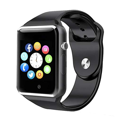 WJPILIS Smart Watch Touchscreen Bluetooth Smartwatch Wrist Watch Sports Fitness Tracker with SIM SD Card Slot Camera Pedometer Compatible iPhone iOS Samsung Android for Kids Men Women (Black1)