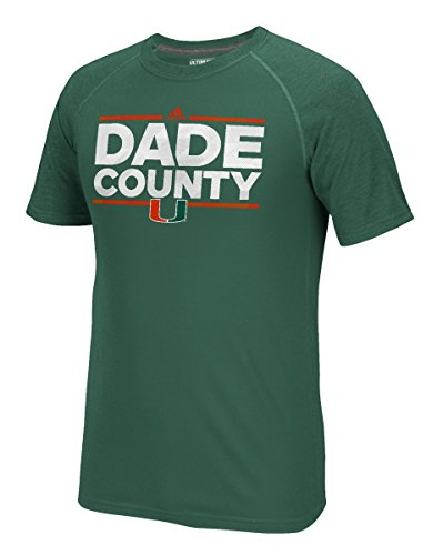 NCAA Miami Hurricanes Men's Dassler City Nickname Climalite Ultimate Short Sleeve Tee, XX-Large, Dark Green Heathered