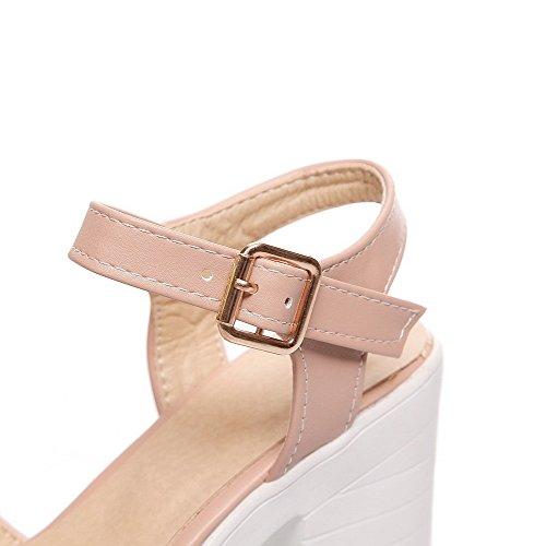 Damen Schnalle Offener Zehe Hoher Absatz PU Leder Sandalen, Pink, 34 AllhqFashion