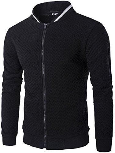 (HOP FASHION Mens Casual Long Sleeve Baseball Collar Diamond Design Zipper Up Jacket Elastic Hem Lightweight Sport Cotton Coat With Pockets HOPM035-Black-XL)