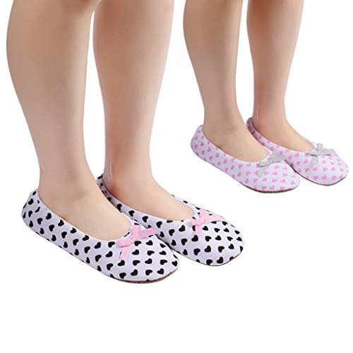 Women's Ballet Slippers,Comfy Warm Ballerina House Slipper,Lightweight Anti-Skid House Shoes(Love,2Pack,6.5-8.5)