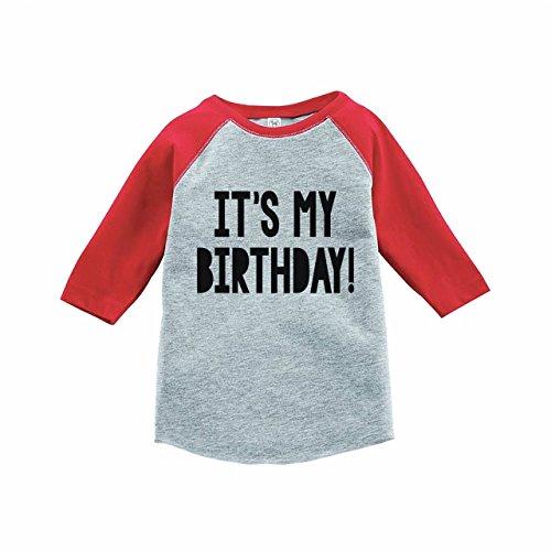 Birthday Boys Shirt (7 ate 9 Apparel Kids It's My Birthday Red Raglan Tee Small)