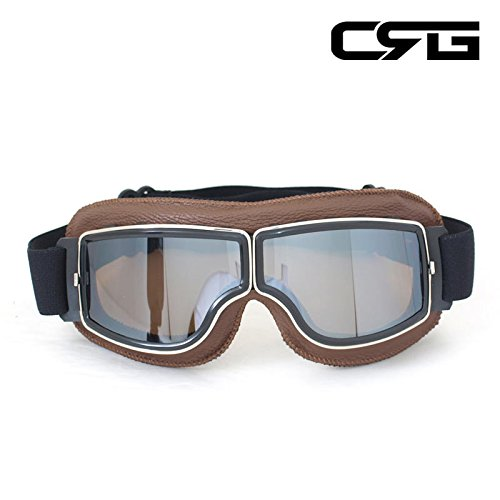 CRG Sports Vintage Aviator Pilot Style Motorcycle Cruiser Scooter Goggle T13 T13BSN Silver Lens Brown (Cycle Pilot)