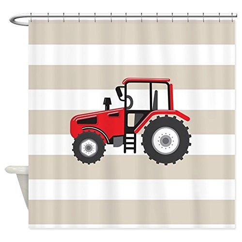 CafePress - Red Farm Tractor, Farmer; On Tan And White Stripes - Decorative Fabric Shower Curtain (69