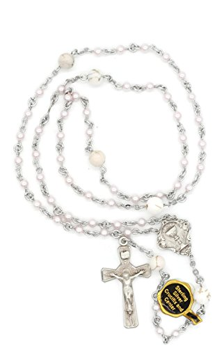 (NS BT-FC-107 First Communion Pink Swarovski Simulated Pearl Rosary With 100% Sterling Silver Centerpiece and Crucifix With Copyrighted Paul Herbert Blessing)