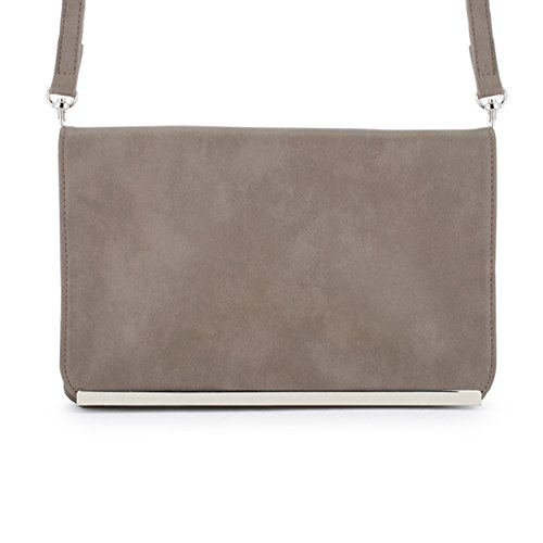 Martha Purse Silver With Faux Clutch Taupe Hardware Leather FrBFq