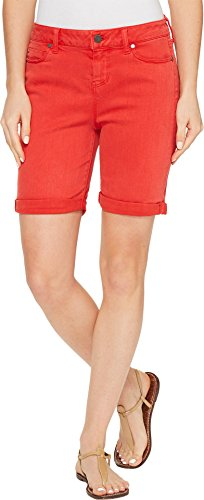 Liverpool Women's Corine Rolled-Cuff Walking Shorts In Pigment Dyed Stretch Slub Twill In Ribbon Red Ribbon Red Shorts