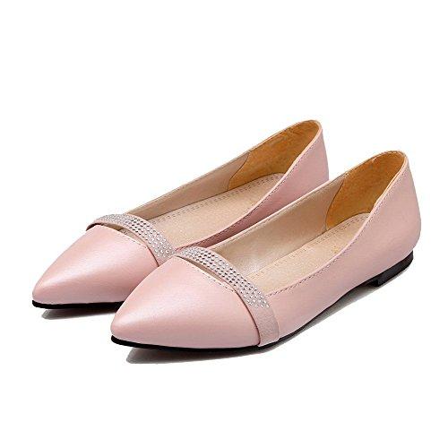 Ballet Tacco Chiusa Rosa Puro Tirare Basso Flats Luccichio Punta VogueZone009 Donna xwTAt8wqp
