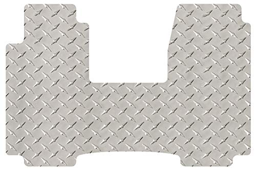 (Intro-Tech CV-299-DP Diamond Plate Front Row 1 pc. Custom Fit Floor Mat for Select Chevrolet Van - Full Size Models - Simulated Aluminum, Silver )
