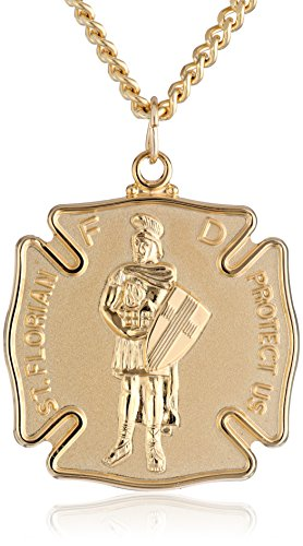 Men's 14k Gold-Filled Saint Florian Medal Pendant Necklace with Gold Plated Stainless Steel Chain, 24