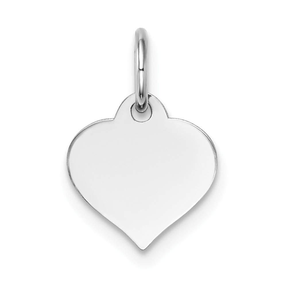 14k White Gold Heart Disc Charm