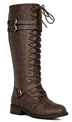 Wild Diva Women's Fashion Timberly-65 Military Knee High Combat Boots Shoes Brown Wet Pu 5.5