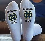 Notre Dame, Football, SHHHHHH, The Game Is On, Christmas Gift, Great Gift Idea, Stocking Stuffer, Mom's Socks, Dad Socks, Grandpa Socks, Grandma Socks, Football Socks
