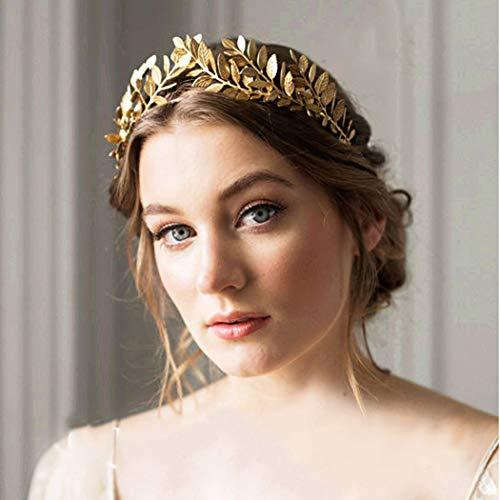 Artio Bride Wedding Headband Gold Leaf Headpiece Bridal Hair Crown for Women and Girls -