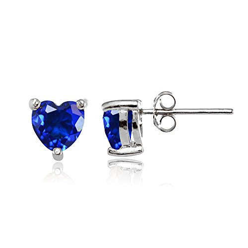 Sterling Silver Simulated Blue Sapphire 6mm Heart Stud Earrings by Ice Gems