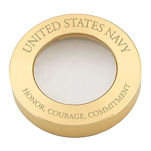 Brass Clock Chart Weight - Brass Magnifier Chart Weight #NV412M 0408 w/United States Navy - Honor, Courage, Commitment (Text Engraved not Printed.)