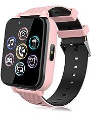 Smartwatch voor kinderen, horloge telefoon voor meisjes en jongens, touchscreen met muziekspeler, spel, camera, zaklampen, wekker, smart watch telefoneren, cadeau (roze)