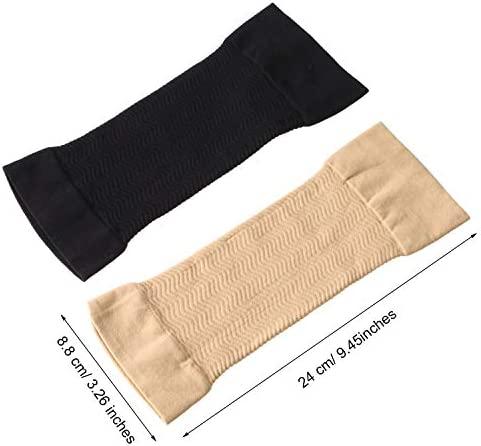 4 Pairs Slimming Arm Sleeves Arm Elastic Compression Arm Shapers Sport Fitness Arm Shapers for Women Girls Weight Loss (Black and Nude Color) 5