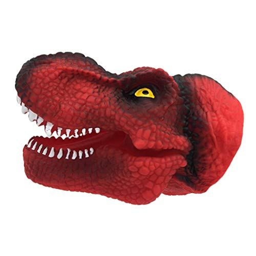 Flameer Kids Adults Interactive Toy Tyrannosaurus Hand Puppet Red for Pretend Play