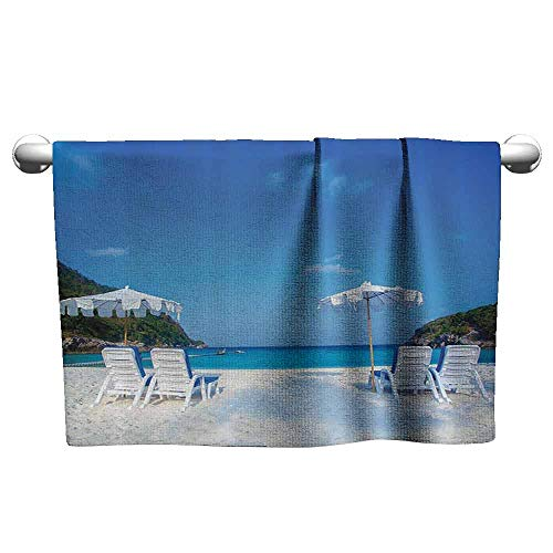 (duommhome Seaside Decor Collection Water-Absorbing Bath Towel Seaside Hills Sandy Beach with Chairs Umbrellas Facing Sea Photography W8 x L23 Blue Ivory Green Aqua)
