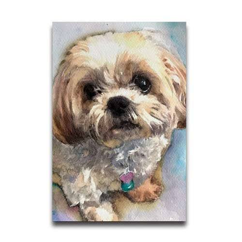 Du Art Gifts Shih Tzu Dog Watercolor Painting Custom Poster Personal Photos Print on Photographic Paper Ready to Hang on Your Wall as a Modern Art 20