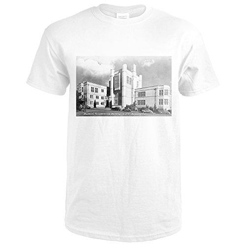 Lantern Press Berkeley, California - University Of CA Student CO-OP Bldg Photograph (Premium White T-Shirt (Bldg University)
