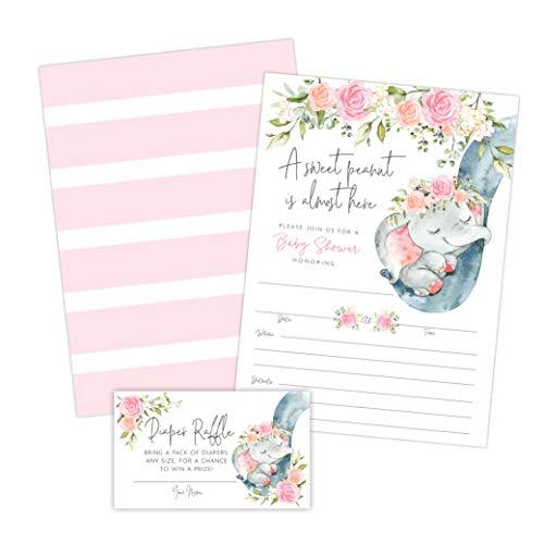 Elephant Girl Baby Shower Invitations, Peanut Baby Shower Invites with Diaper Raffles Cards, Sprinkle, 20 Invites Including Envelopes]()