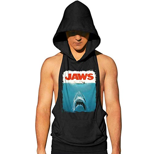 Workout Hooded Tank Tops Jaws Movie Poster MenLightweight Muscle Sleeveless Hooded Shirt with Pocket Cool and Muscle Cut (Kitty Jaws Shirt)