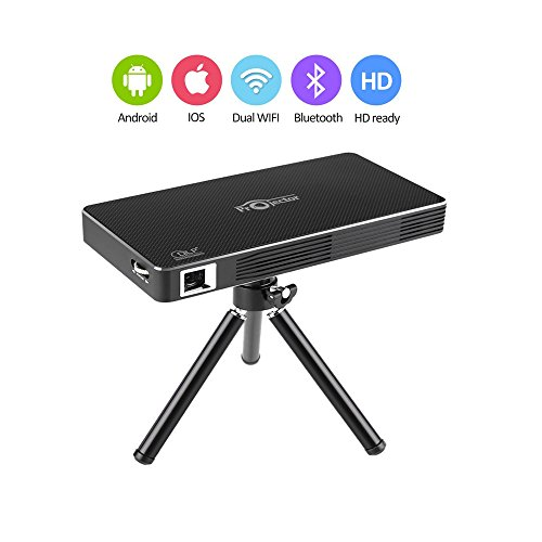 Docooler DLP Projector w/Android 4.4.4 OS 2.4G/5G /1080P Throw 120-inch Screen 4200mAh Rechargeable WiFi Bluetooth 4.0 HDMI USB TF