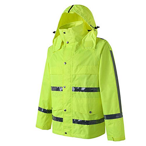 GSHWJS- trash can Waterproof Rain Jacket and Pants, Reflective Safety Raincoat Hooded Poncho Set, Green Reflective Vests (Size : XXXL) by GSHWJS- trash can (Image #1)