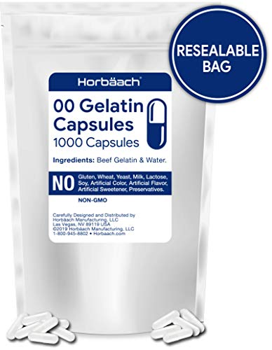 Clear Size 00 Empty Capsules | 1000 Gelatin Capsules | Resealable Bag | Non-GMO, Gluten Free | by Horbaach